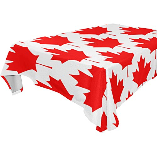 ZOMOY Decor Tablecloth Abstract Canadian Seamless Pattern Maple Leaf Multicolor Rectangular Table Cover for Dining Room Kitchen Outdoor Picnic