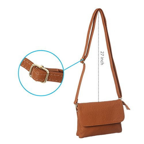 Crossbody Cell Roomy MINICAT Size Phone small Purse Pockets For Series Wallet Small Bag Women Brown qSY4IYwR