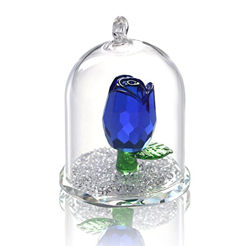 (H&D Crystal Enchanted Rose Flower Figurine Dreams Ornament in a Glass Dome Gifts for her)