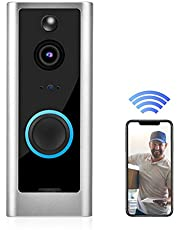 720p HD Video Timbre WiFi Inteligente Video Puerta Teléfono Monitoreo de Manos Libres con IP65Impermeable + Visión Nocturna + Detección de Movimiento + Soporte para Alexa Google Home(US)