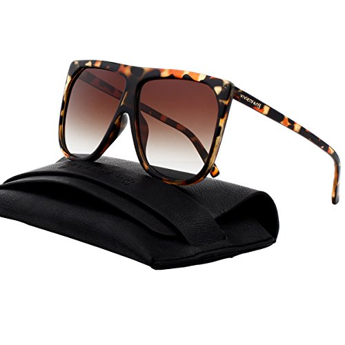 VIVIENFANG Oversized Flat Top Square Frame Aviator Polarized Sunglasses Boyfriend Shades P2227B Brown - Sunnies Polarized