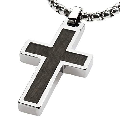 CERAMIC GESTALT Unique Tungsten Cross Pendant .4mm Wide Surgical Stainless Steel Box Chain. Grey Wood Inlay. 22 inch Chain. PT1K-GRYW22