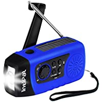 IntiPal 2000mAh, Emergency Solar Hand Crank FM Radio, MP3 Player, Flashlight, Smart Cell Phone Charger w/ USB Cable (Blue)