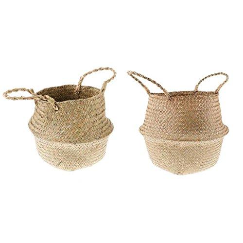 B Blesiya 2pcs Belly Basket, Seagrass Planter Toy or Laundry Basket with Handles M S by B Blesiya