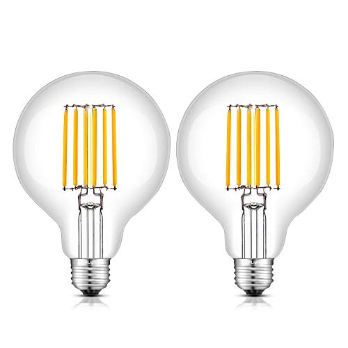 CRLight 8W Dimmable Edison LED Globe Bulb 80W Equivalent 800 Lumens, 2700K Warm White E26 Medium Base, Vintage G30 / G95 Large Clear Glass Globular LED Filament Light Bulbs, Pack of 2