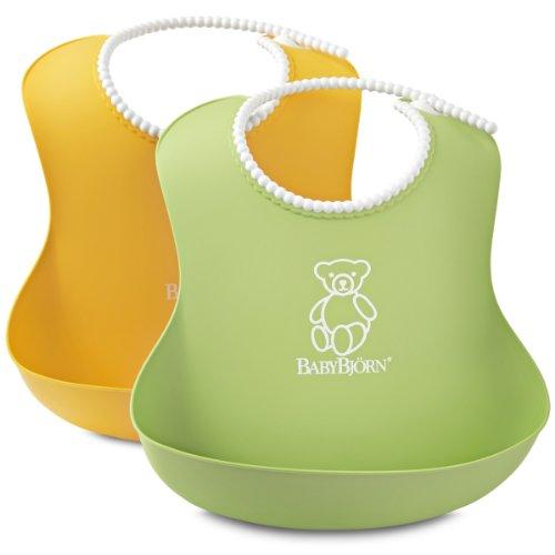 BabyBjörn 046203 Weiches Lätzchen, 2 pack, grün/gelb