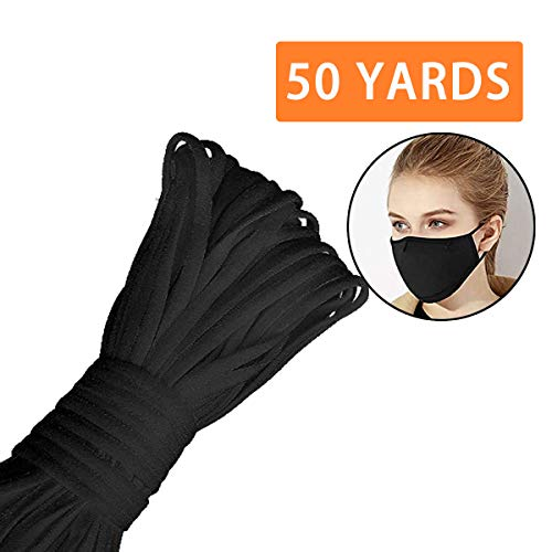 [1/5 Inch, 20 Yards] Black Elastic Band, CoutureBridal Braided Stretch Strap Cord Roll Heavy Stretch Elastic Band Round Ear Tie Earloop Strap for Sewing DIY Arts Crafting