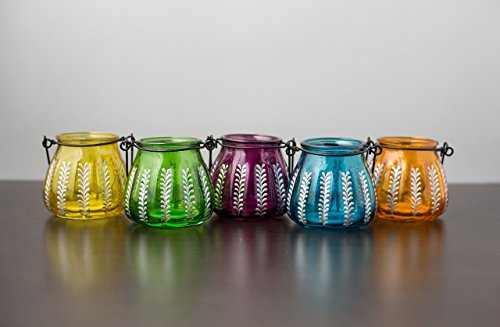Jewel Toned Mini Moroccan Hanging Lanterns - Set of 5 Moroccan Jewel