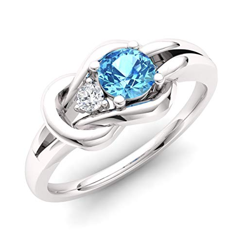 Diamondere Natural and Certified Blue Topaz and Diamond Engagement Ring in 14K White Gold | 0.32 Carat Infinity Knot Ring Size ()