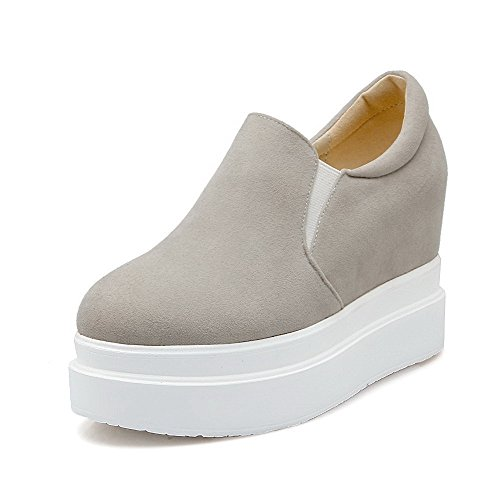 WeenFashion Women's Pull-on Round Closed Toe High-Heels Imitated?Suede Solid Pumps-Shoes, Gray, 35 by WeenFashion