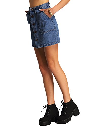 SheIn Women's Button Front Denim A-Line Short Skirt - A-Blue Small by SheIn (Image #3)