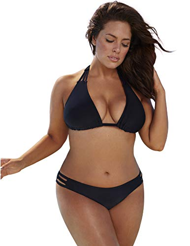 Swimsuits for All Women's Plus Size Triangle String Bikini Set 18 Black