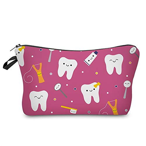 Cosmetic Bag MRSP Makeup bags for women,Small makeup pouch Travel bags for toiletries waterproof Happy Teeth Friends…