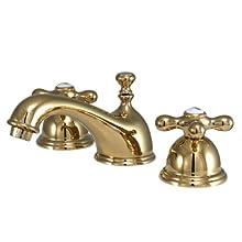 Kingston Brass KS3962AX Restoration Widespread Lavatory Faucet with Metal Cross Handle, Polished Brass