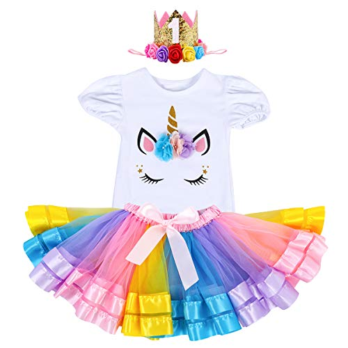Infant Baby Girls Unicorn First Birthday Party Outfit Flower Romper Tutu Skirt Sparkly Tiara Princess Halloween Fancy Dress Costume Colorful & 1 Tiara 12-18 Months -
