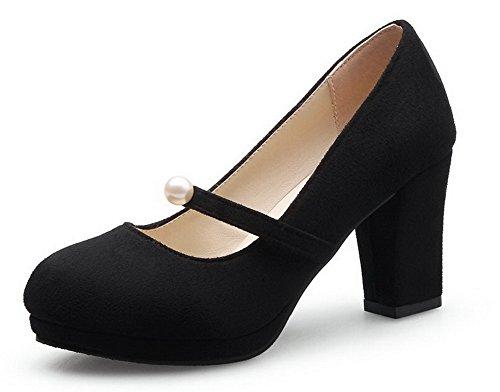 Damen Mittler Absatz Rein Ziehen auf Mattglasbirne Rund Zehe Pumps Schuhe, Schwarz, 42 VogueZone009