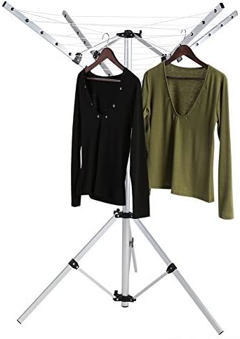 Tendedero de ropa con 4 ganchos plegables que se pueden colocar en el balcón o en el suelo de camping, altura ajustable, protección contra la ...