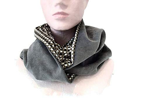 28776213ef96 snood femme gris et beige tissu motifs geometriques, echarpe infinie en  velours et jersey,