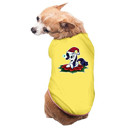 [Pets My Little Pony Rarity Wear Christmas Santa Hat Printed T-shirt Yellow] (My Little Pony Costume For Dogs)