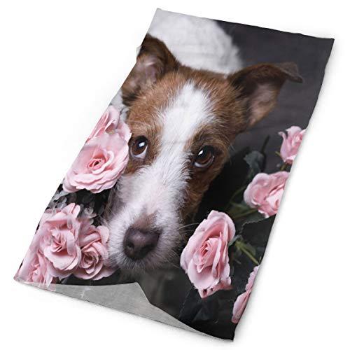 (A Dog With Flowers Headband Womens Bandana Multifunctional Mens Balaclava, Neck Warmer, Face Mask, Helmet Liner)