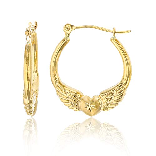14K Yellow Gold 2mm Thick Wings & Heart Hoop Earrings with Hinged Clasp | 2x18mm Hoop | Heart Hoop Earrings | Solid Gold Earrings for Women and Girls