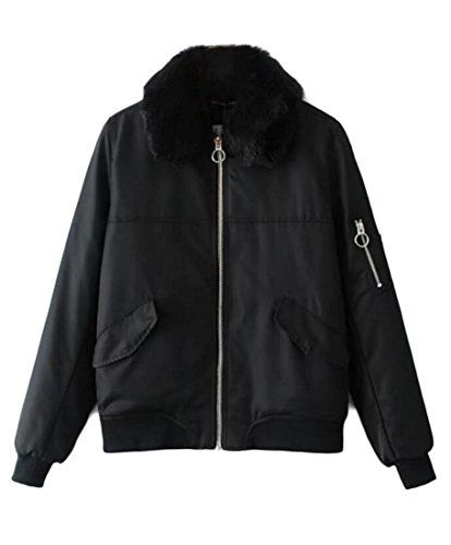 M Classic Zip Bomber Jacket amp;W Biker Solid Coat Winter Black amp;S Women's Up UqxcSf6wUr