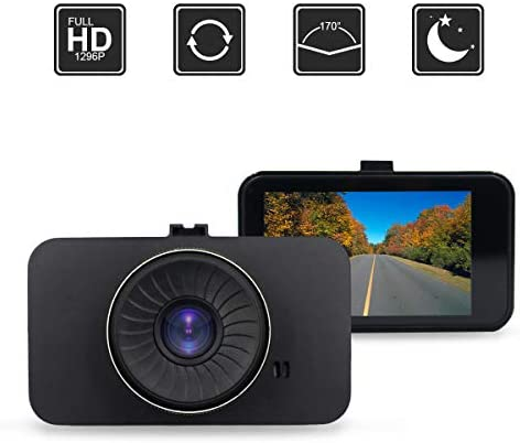 Dash Camera, AMCSXH HD Full 1296P 170 Degree 3 IPS Screen Dashboard Camera Recorder, with WDR,G- Sensor, Motion Detection, Parking Monitoring, Loop Recording.