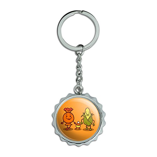 Candy Corn Family Halloween Chrome Plated Metal Pop Cap Bottle Opener Keychain Key Ring