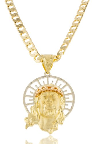 Goldtone Brass 3D Jesus Face Pendant with an 8mm Cuban Chain Necklace (24 Inches)