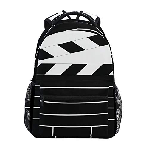 Black Movie Clapboard School Backpack Large Capacity Canvas Rucksack Satchel Casual Travel Daypack for Adult Teen Women Men Children
