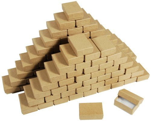 (New 25 Kraft Cotton Filled Gift Boxes 2 1/8