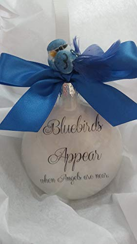 (Memorial Christmas Ornament - Bluebirds Appear When Angels Are Near - Sympathy Gift)