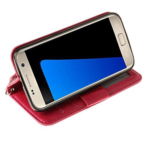 SRY La caja del soporte de la carpeta del tirón del cuero de la PU con la ranura para tarjeta grabó en relieve el diseño de la hoja de arce para Samsung Galaxy S7 ( Color : Gold ) Rose
