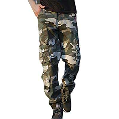 Papijam Mens Utility Straight Leg Multi Pockets Camo Print Cargo Pants supplier