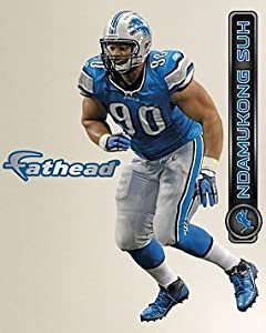 """Ndamukong Suh FATHEAD Detroit Lions Official NFL Vinyl Wall Graphic 17""""x10"""""""