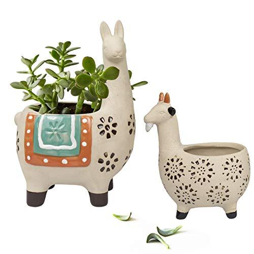 Ceramic Animal Succulent Planter Pots - 6.1 + 4.5 inch Cute Alpaca & Goat Rough Pottery Unglazed Desktop Flower Plant Pots Indoor with Drainage for Herb Cactus Air Plants, Christmas Home Decor Gift (Ceramic Animals Large)