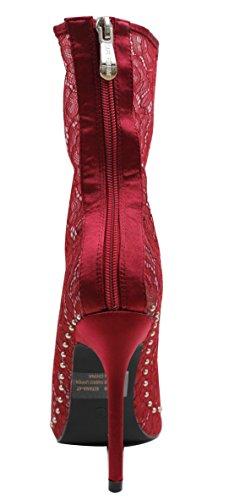 Cape Boot Womens Mid Sheer CR Lace Flower Robbin Red Calf Stiletto xgRwT4FPnq