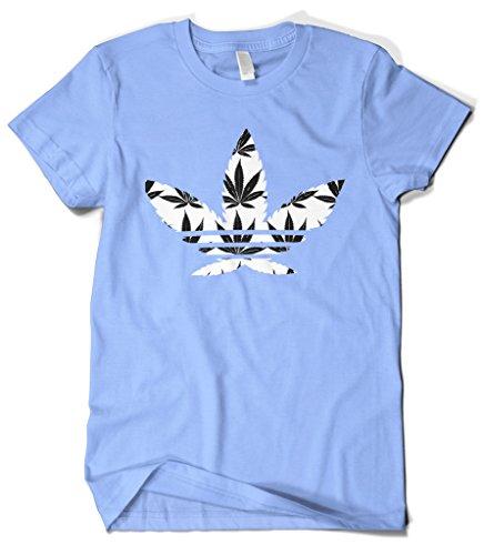 Cybertela Men's Marijuana Leaf Weed Symbol Logo T-Shirt (Light Blue, Medium) (Shirts With Weed Logo)