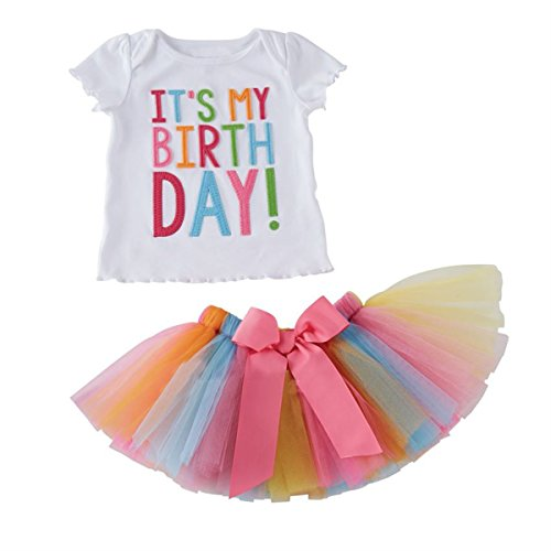 Toddler Baby Girls Birthday Outfit Set Birthday T-shirt + Rainbow Tutu -