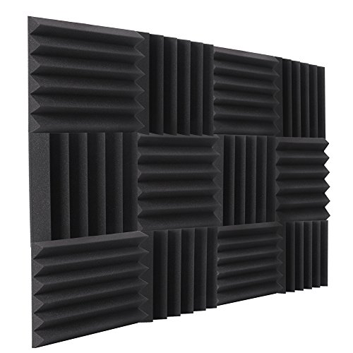 "Double Thick Studio Acoustic Wedge Foam Panels 12 Pack of 12""x12""x2"" (Charcoal) by NRG Acoustic to Remove Noise, Enhance Sound. Wall Foam Panels, Sound Proof Padding for Studios Vloggers, and More. by byNRG"