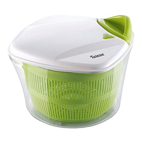 Salatschleuder Twinzee – großes Fassungsvermögen (5L) – Innovatives Design mit Ablaufsieb für das Wasser und einer Salatschüssel - Effektives und einfaches Schleudern dank Ziehgriff