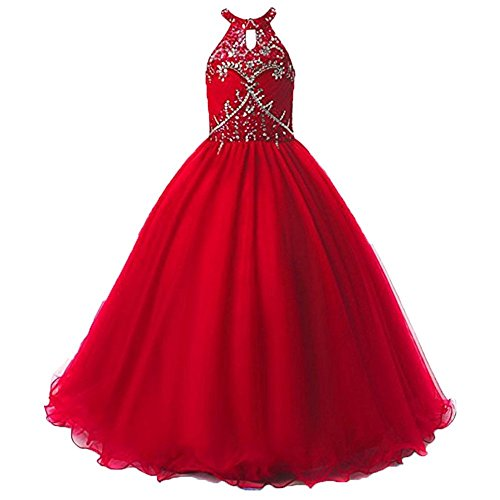 Tulle Boho Style Floor Length A Line Flower Girl Dresses 2-14 Year Old Red,Size 14 ()