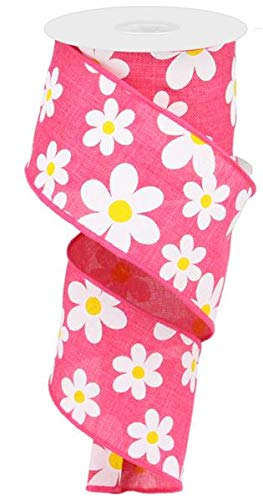 (Daisy Flower Canvas Wired Edge Ribbon, 10 Yards (Hot Pink, 2.5