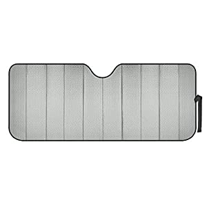 Motor Trend Front Windshield Sunshade – Gray Accordion Folding Auto Shade for Car Truck SUV 58″ x 24″