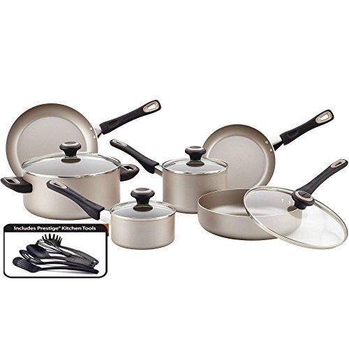 Farberware 15-Piece High-Performance Easy Clean Non-Stick Cookware Set with Shatter Resistant Glass Lids and Double Riveted Handles, Champagne, Dishwasher/Oven Safe