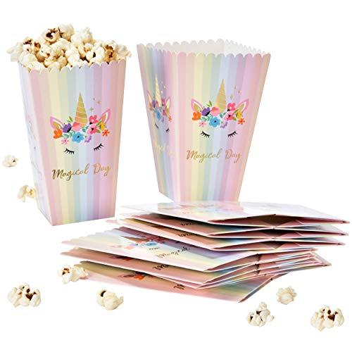 Party Favor Popcorn Boxes (24 Unicorn Popcorn Boxes with Gold Foil For Birthday & Baby Shower Favors Magical Day Rainbow Unicorns Theme Treat Box Containers Party Supplies Decorations by Gift)