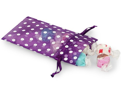 Sheer Printed Polka Dot Organza Bags- Purple Punch & White Dots 4x6 Polka Dot Organza Bags (9 Packs; 10 Bags Per Pack) - WRAPS-B52248