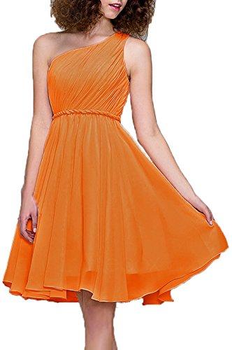 Bridesmaid Dresses Short Cocktail Dress One Shoulder Prom Formal Dresses For Women, Color Tangerine,4