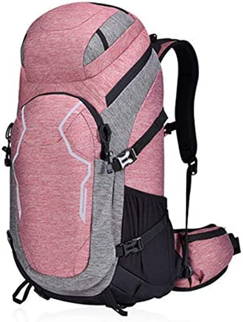 50Lアウトドアスポーツハイキングバックパック、 防水ナイロン生地、 ロッククライミング/旅行 男性と女性,Pink