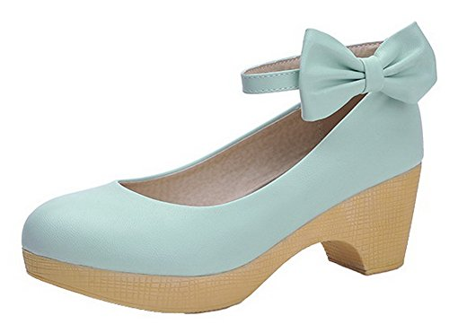 VogueZone009 Women's Solid PU Kitten-Heels Round-Toe Buckle Pumps-Shoes Skyblue N9rUBxAe5